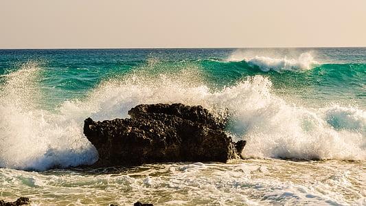 ona, trencant, Roca, Mar, l'aigua, Costa, natura