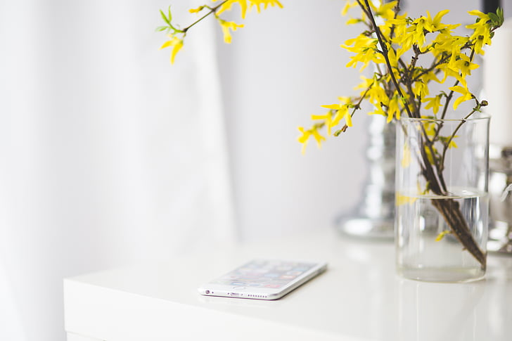 iphone, iphone 6, iphone 6 plus, apple, white desk, desk, flowers