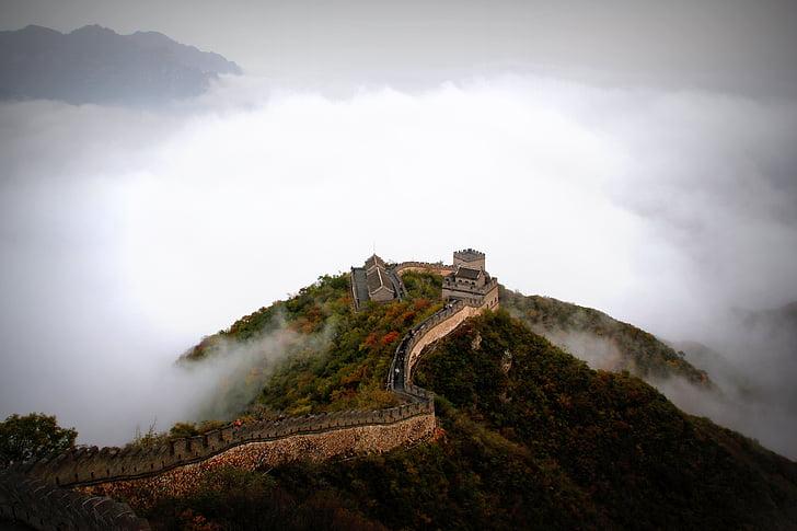 Azja, Chiny, chmury, Wielki Mur, historyczne, góry, wzrok