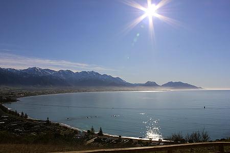soluppgång, stranden, Sunrise beach, Kaikoura, Nya Zeeland, dagsljus, solsken
