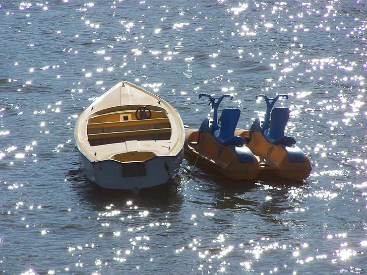 water, boat, rest, lake, river, sparkling, light