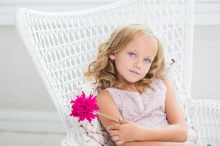meisje, jonge, blauwe ogen, ogen, blik, op zoek, stijl