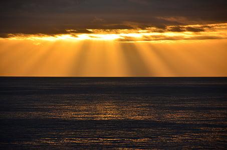 Alba, Mar, vaixell, morgenstimmung, morgenrot, natura, Llac