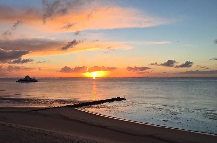 mar, salida del sol, amanecer en el mar, sol, espejado, morgenstimmung, naturaleza