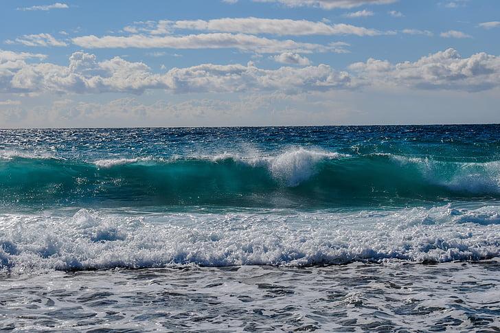 hullám, Lenyûgözõ, tenger, tengerpart, természet, Beach, kék
