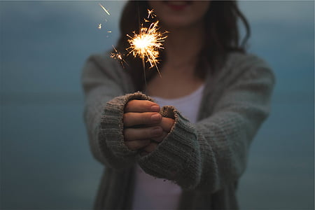 烟火, 举行, 手, 烟花, 火花, 消防, 光