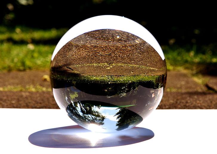 glaskugeln, zrcaljenje, vrt, svetlobe, kroglice, marmor, steklo