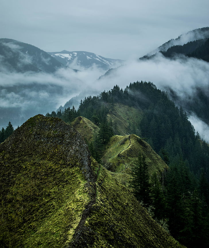 clouds, landscape, mountain range, mountains, nature, scenic, trees
