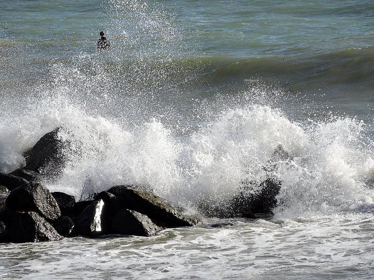sziklák, hullámok, tenger, spray, víz