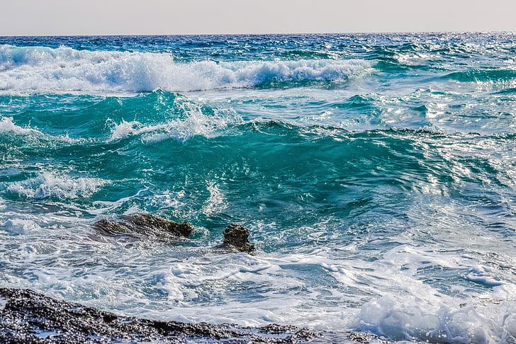 hullám, hab, spray, tenger, természet, szél, kék