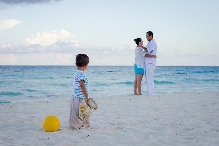 l'amor, família, platja, vacances, nens