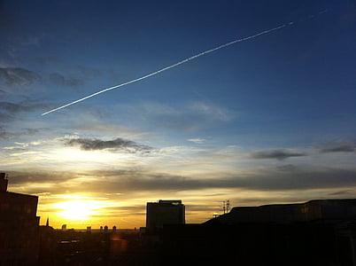 London, Sky, soluppgång, Dawn, stadsbild, solnedgång, naturen