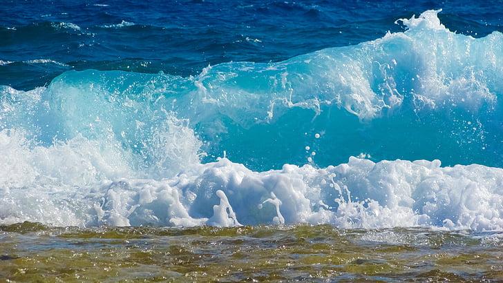 hullám, buborékok, hab, spray, energia, víz, Splash