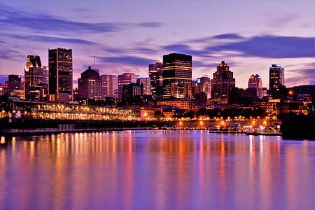 arquitectura, Pont, edificis, ciutat, llums de la ciutat, paisatge urbà, Centre