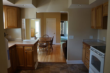 kitchen, room, table, apartment, eat, living, dining room