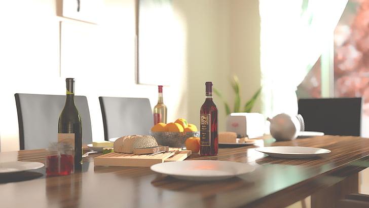 ampolla, esmorzar, taula de menjador, aliments, matí, ampolla de vi, taula
