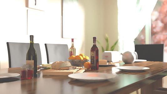 pudel, Hommikusöök, söögilaud, toidu, hommikul, veinipudel, Tabel