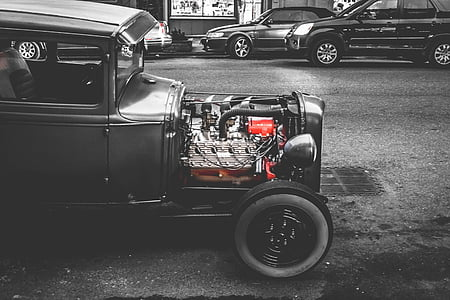 car, classic, vintage, engine, street, road, black and white