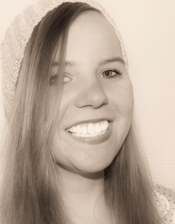 noia, dona jove, cara, Retrat, somriure, dent, dents