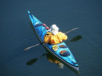 kayak, kayaking, kayaker, water, blue, river, paddle