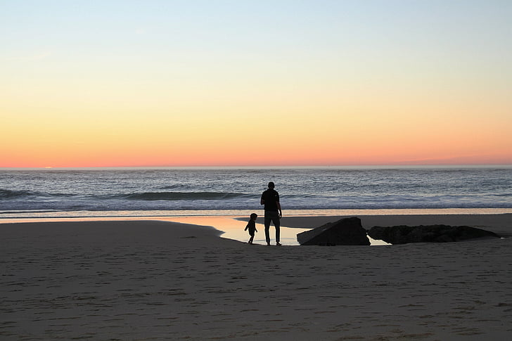 Sunset, far, Beach, familie, barn, familien på stranden, aften