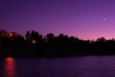 Nočná obloha, mesiac, more, noc, violett, polmesiac, Sky