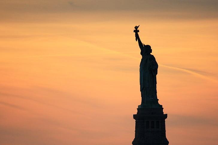Estàtua de la llibertat, Nova york, posta de sol, Estats Units, estàtua, llum de fons, destinacions de