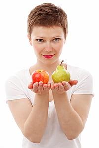 Poma, elecció, dieta, aliments, fresc, fruita, noia