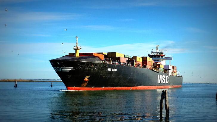 skib, købmand, port, fragtskib, fragtskib, Porto, container