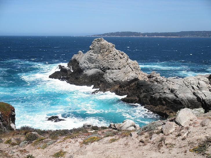 Ocean, California, Beach, Vaikse ookeani, kivid, lained