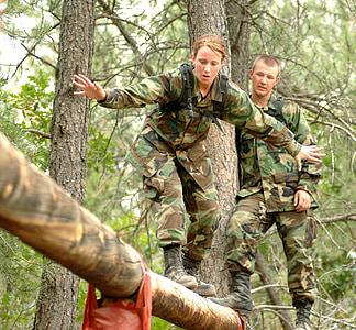 soldat, obstacle, curs, militar, femella, equilibri, registre