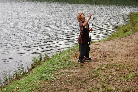 young, boy, fishing, river, lake, nature, water