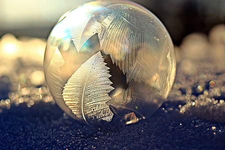 soap bubble, frost blister, eiskristalle, snow, winter, cold, frozen