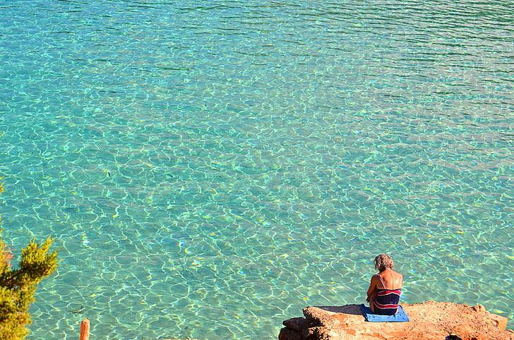 rocks, beach, sand, you swim, ibiza, person, thinking