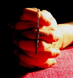 Rosari, pregària, pregar, vermell, mans, religió, Catòlica