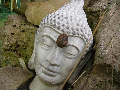 Buddha, stirnchakra, ábra, kő, istenség, többi, harmónia