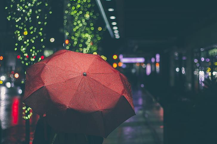 το βράδυ, διανυκτέρευση, βροχή, βρέχει, των βροχών, ομπρέλα