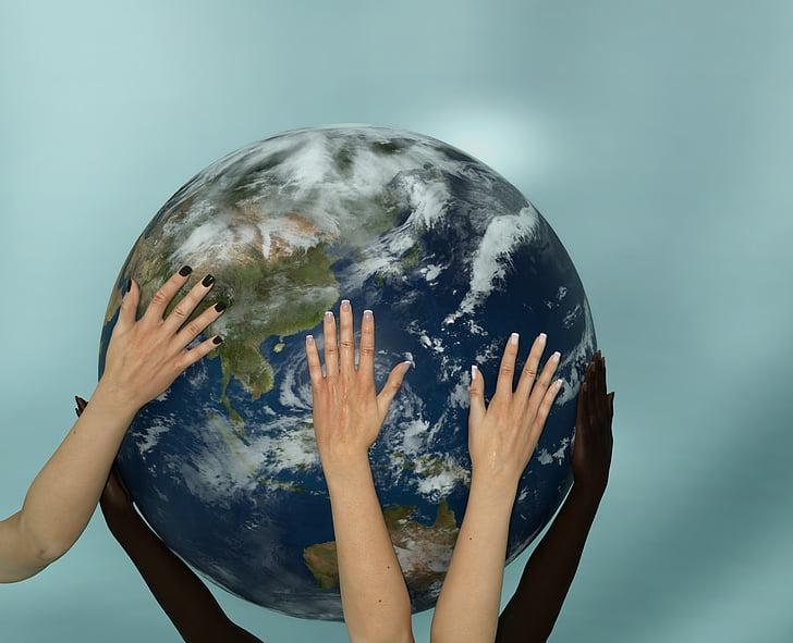žemė, pasaulyje, rankas, bendradarbiavimo, Harmonija, Planeta - vietos, apvali - dirbtinis objektas