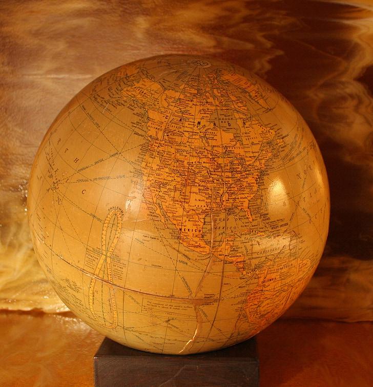 globus, món, mobles, mapa, terra, planeta, esfera