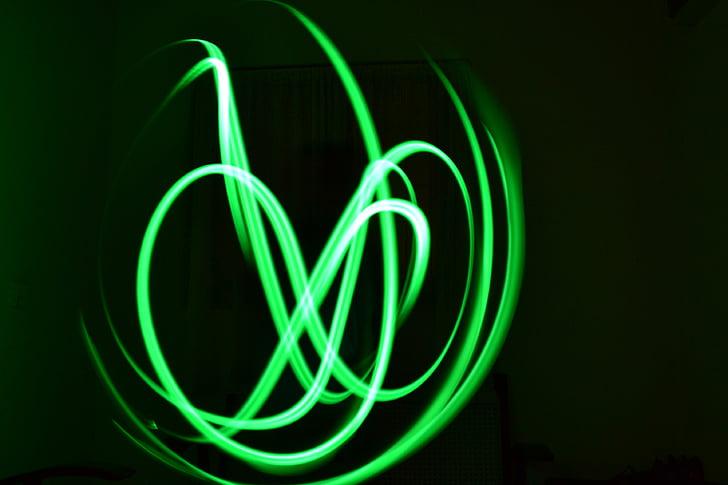 Neon, ışık boyama, Yeşil, Beyaz, kızdırma, karanlık, sanatsal