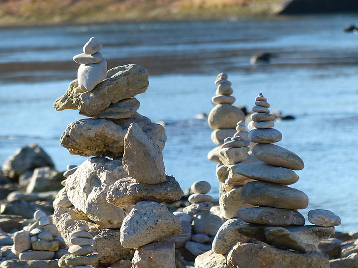 cairn, water, river, stones, stone tower, coast, balance