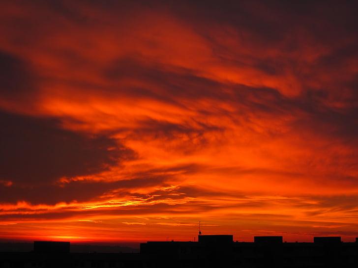 salida del sol, nubes, cielo, Estado de ánimo, rojo, cielos, morgenrot