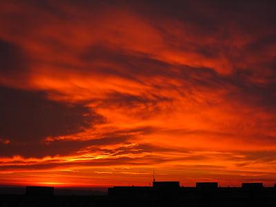 Alba, núvols, cel, estat d'ànim, vermell, cels, morgenrot