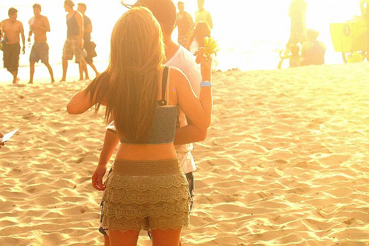 pludmale, pāris, romantika, smilts, Ekvadora, montanita, okeāns
