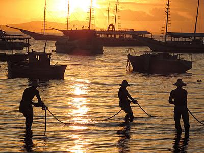 vaixell, treballador, pesca, Mar, posta de sol, cel, Badia