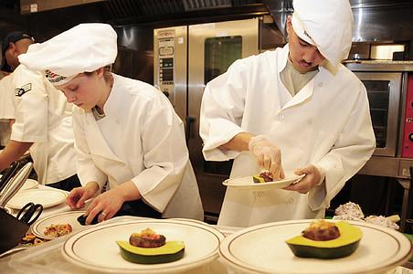 xefs, competència, cuina, aperitius, feina, cuina, uniforme
