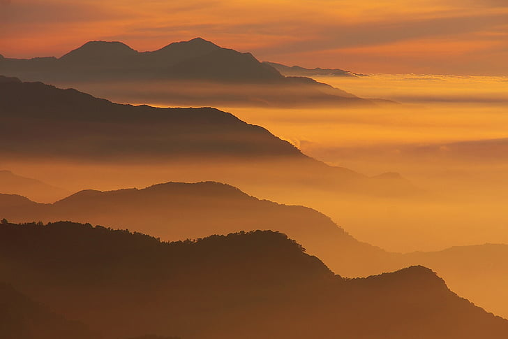 bergen, solnedgång, landskap, naturen, dimma, silhuetter, färgglada