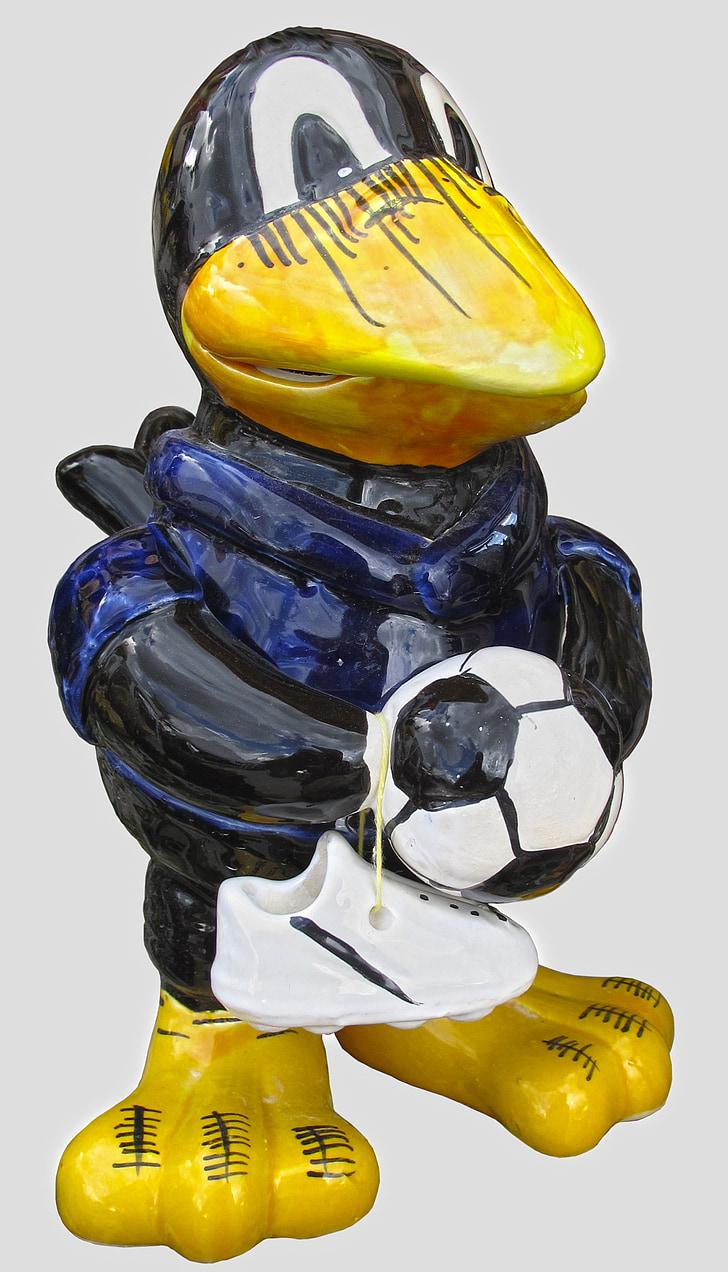 гарван, фигура, футбол, врана, гарван птица, декорация, керамични