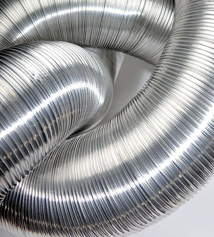 canonada de ventilació, nus, tub d'alumini, flexible, flexibilitat, canonada, indústria