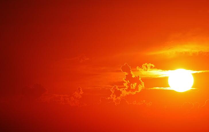 solnedgång, moln, kvällshimmel, Sky, abendstimmung, kvällen, atmosfäriska